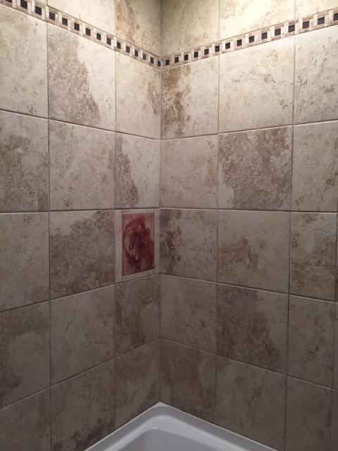 Accent Tile Mural Shower. U201c
