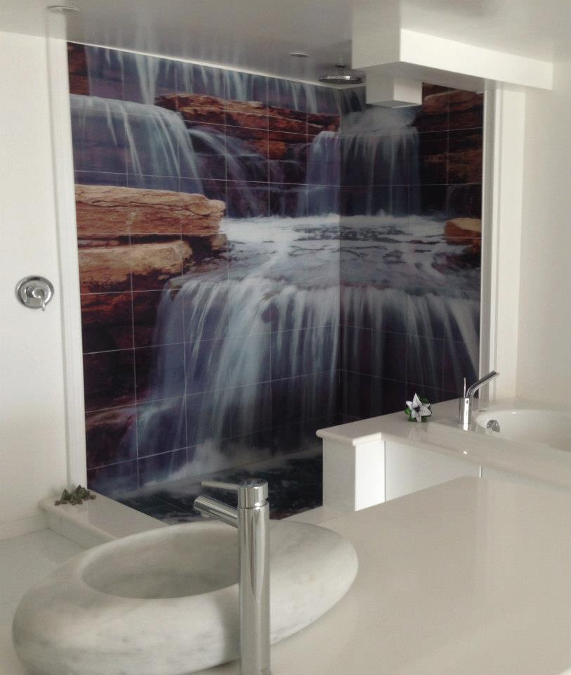 Waterfall Shower Tile Murals Tile By Design